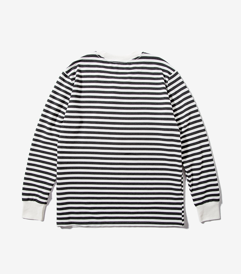 OEM ODM Yarn Dyed Striped Long Sleeve T Shirt Men with 3D Embroidery