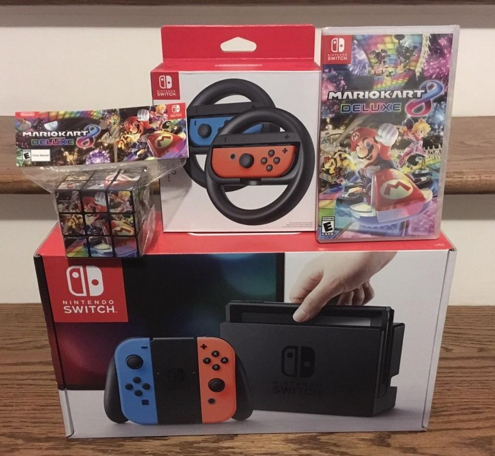 Free Shipping For Nintendo Switch - 32GB Gray Console 20 GAMES(w/ Neon Red/Neon Blue Joy-Con) BUY 5 GET 3 FREE