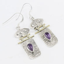 Latest design amethyst gemstone 925 sterling silver earring gold plated wholesale indian manufacturer silver jewelry