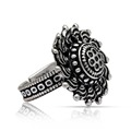 Silver Color Oxidised Floral Design Ring