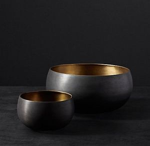 Set of 2 pieces Black Metal Aluminum Enamel Bowls
