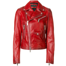 Biker style red women lamb leather jacket