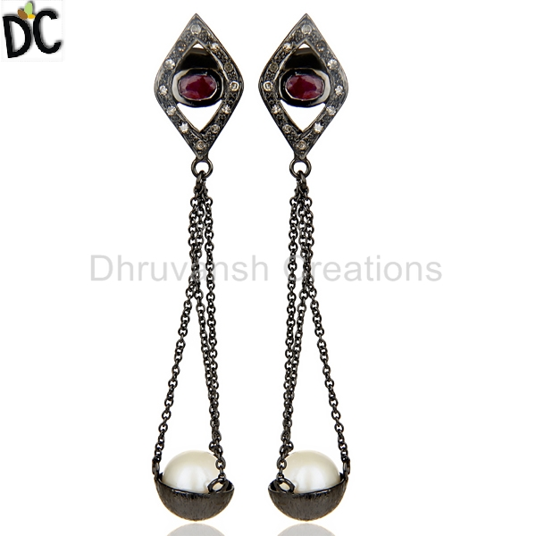 Natural Pearl and Ruby Gemstone Earring Rhodium Plated Silver Pave Diamond Wedding Earrings Bridal Jewelry
