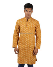 New Design Mustard Yellow Floral Printed Cotton Latest kurta Designs For Men