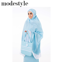 Telekung Sarah Cotton Exclusive Malaysia Blue suitable for Muslim wear