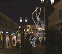 Street Rope Motif Christmas Led Pole Light Outdoor Decor