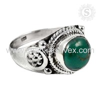Trendy vintage turquoise gemstone ring 925 sterling silver ring handmade jewelry supplier