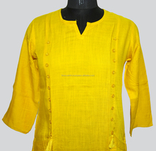 Indian Yellow Color Printed Long Sleeve Cotton Kurtis For Women And Girls