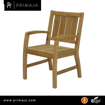 Fix dining chair with arms made with high quality teak.