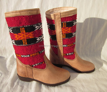 Amazing Handmade Genuine Leather Ladies Dress Kilim Boots