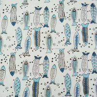 Cotton voile white base fish print fabric
