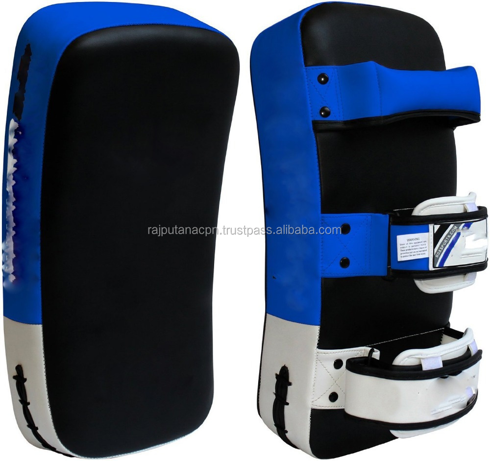 special curved thai pad w velcro blue red