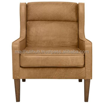 Vintage Light Brown Color Very Comfortable Sitting Leather Arm Chair Living Room Furniture