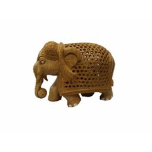 Vihaan Impex Indian Designer Wooden Handicraft Undercut Star Jali Design Elephant Best Home Office Decor & Gift Item VIHE03