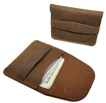 Crazy horse leather small wallet handmade card holder wallet simple style wallet