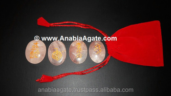 Rose Quartz Oval Reiki Set With Purse : Wholesale Anabia Agate Stone Export