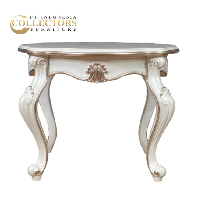 Antique Luxury Mahogany White Bone Console Table Living Room Furniture
