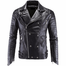 2017 Spring Men Faux Leather Jacket Skull Button Man Motorcycle Bomber Biker Men's Leather Jackets and Coats New Brand Clothing