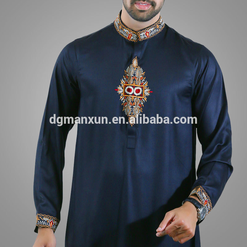 2017 new style islamic men's thobe design dubai muslim men thobe