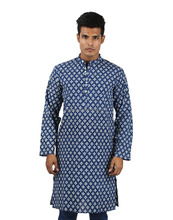 Indian Off White And Blue Cotton Full Sleeve Hand Printed Blue Kurta