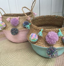 Pastel Pink, Pastel Blue, Pom Pom with seagrass belly basket