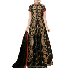 Black Colored Banarasi Jacquard Embroidered Semi Stitched Indo Western Salwar Suit