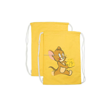 Drawstring cotton bag with cartoon print