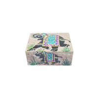 Handicraft soap stone carving box with hand painting
