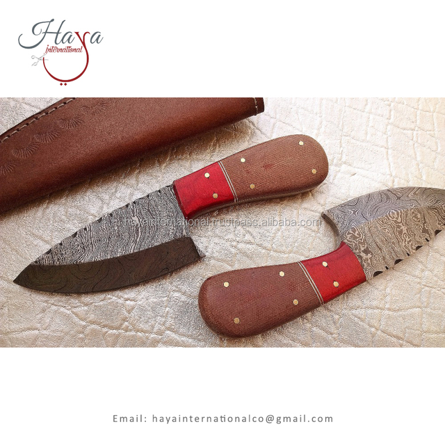 HISDK1 Highly Demanded Wooden And Micarta Handle Drop Point Damascus Steel Skinner Hunting Knife