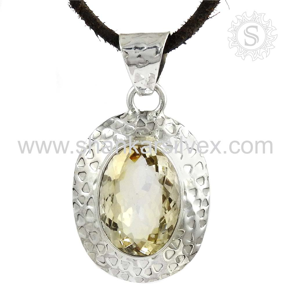 Exclusive citrine gemstone silver pendant 925 sterling silver pendant online jewelry exporter