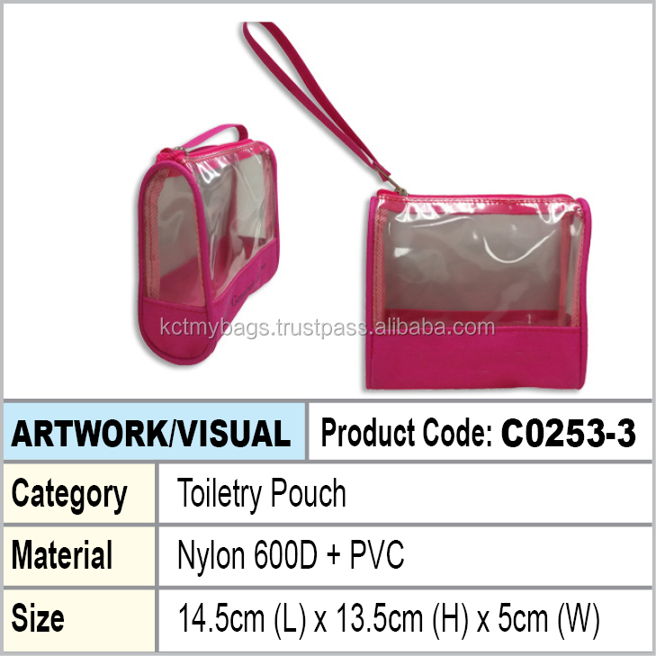 PVC + Nylon 600D toiletry zipper pouch
