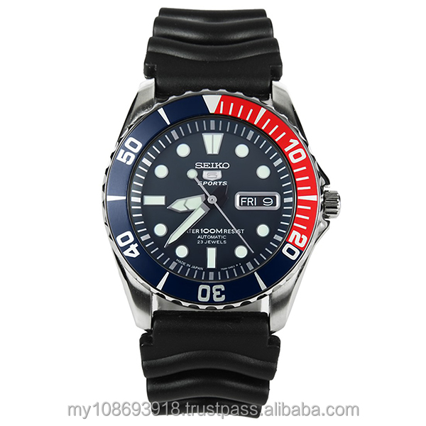 Seiko Watch SNZF15J2 Sport Automatic Blue Dial Red Bezel Black Men's Watch