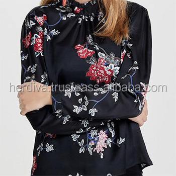 Custom Digital printing women clothing top long sleeve blouse dress skirt fabric textile printed design latest Chiffon Crepe