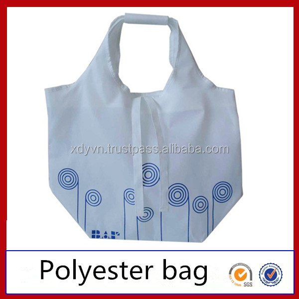 Custom Logo Printed Cosmetic Foldable Polyester Shopping Bag