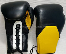 Bulk boxing gloves custom logo Black and Yellow leather boxing gloves Manufacture by Hawk Eye Co. ( PayPal Accepted )