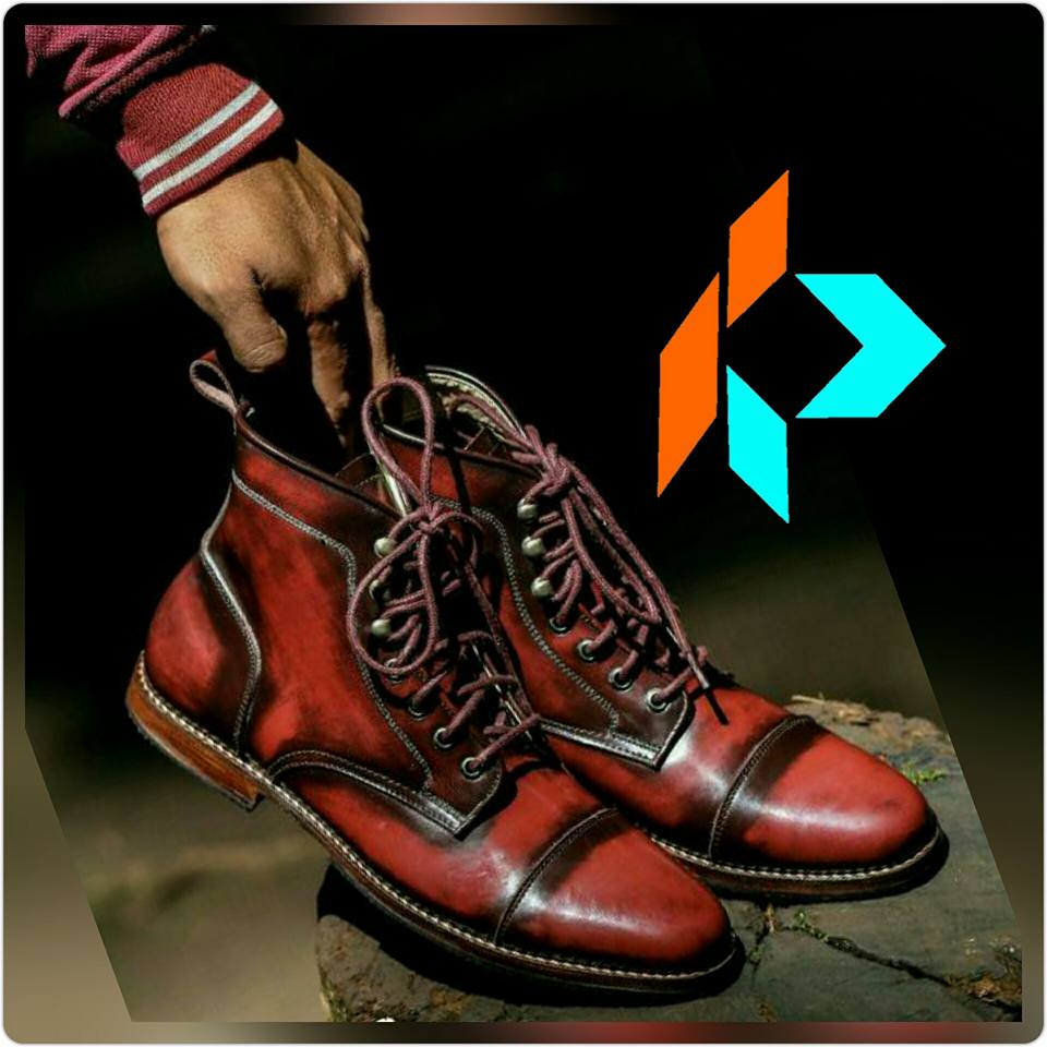 Best Quality Handmade Red Wine Derby Captoe Men Genuine Leather Boots Style MY-90714