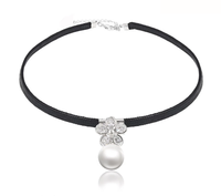 00131-thailand jewelry manufacturer velvet pearl choker necklace