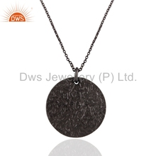 Textured Black Rhodium Plated 925 Silver Pendant Handmade Plain Silver Chain Pendant For Girls