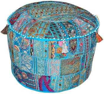 Terquise Indian Handmade Antique Pouf Cover Cotton Patchwork Sitting Ottoman Pouf