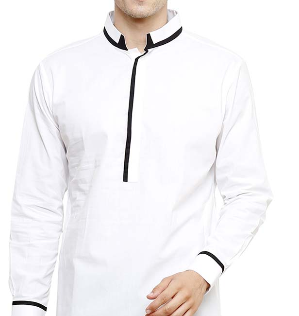 Men's Kurta - White Cotton Kameez Kurta For Men - Muslim Wear Traditional Clothing