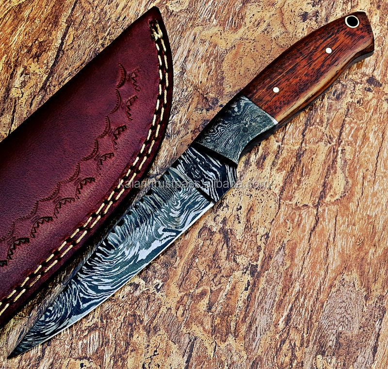 KIDFK01 Pakistan High quality rose wood handle damascus steel hunting knife