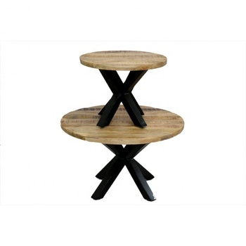 Coffee Table thick Mango Round Wood Top X Industrial Legs
