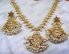 Gold Plated 22kt Multi Color Stone Kundan Pearl Beaded Pendant Vogue Jewelry New Wedding Wear Indian Necklace