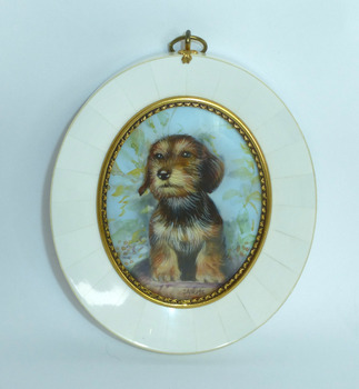 mammoth tusk miniature picture dog signed