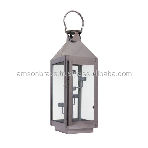 Pink Glass Metal Lantern