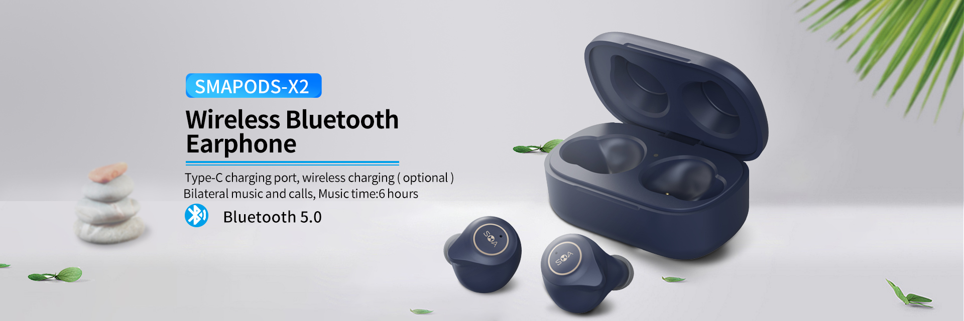 TWS wireless earbuds with noise cancelling independent earbud type-C with wireless charging