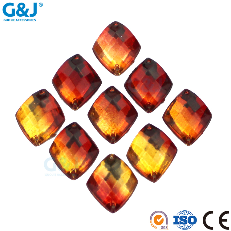 guojie brand wholesale beauty reddish yellow color diamond shape acrylic stone