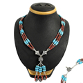 Fascinating coral & turquoise beaded necklace for women 925 sterling silver jewelry gemstone necklaces exporter india