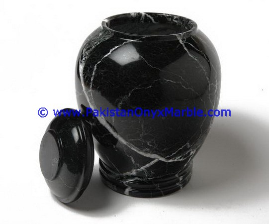 Low Price marble urns black zebra marble urns handcarved