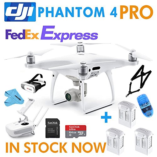 DJI Phantom 4 PRO Drone Quadcopter Bundle Kit with 3 Batteries, 4K Professional